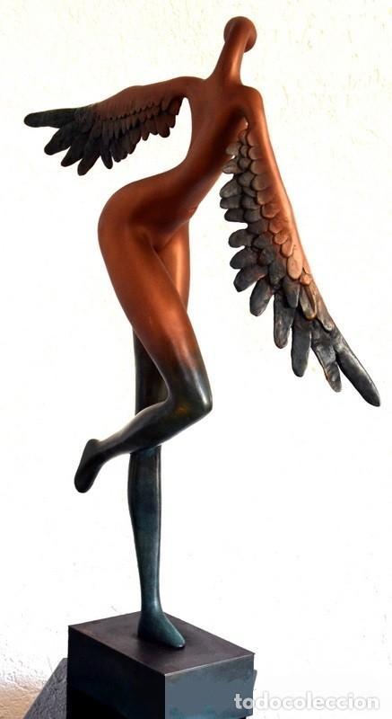 Arte: ESPECTACULAR ANGEL ABSTRACTO DE BRONCE PATINADA, EN HOMENAJE A SALVADOR DALI (56 cm & 5,7 kg) - Foto 3 - 152554046