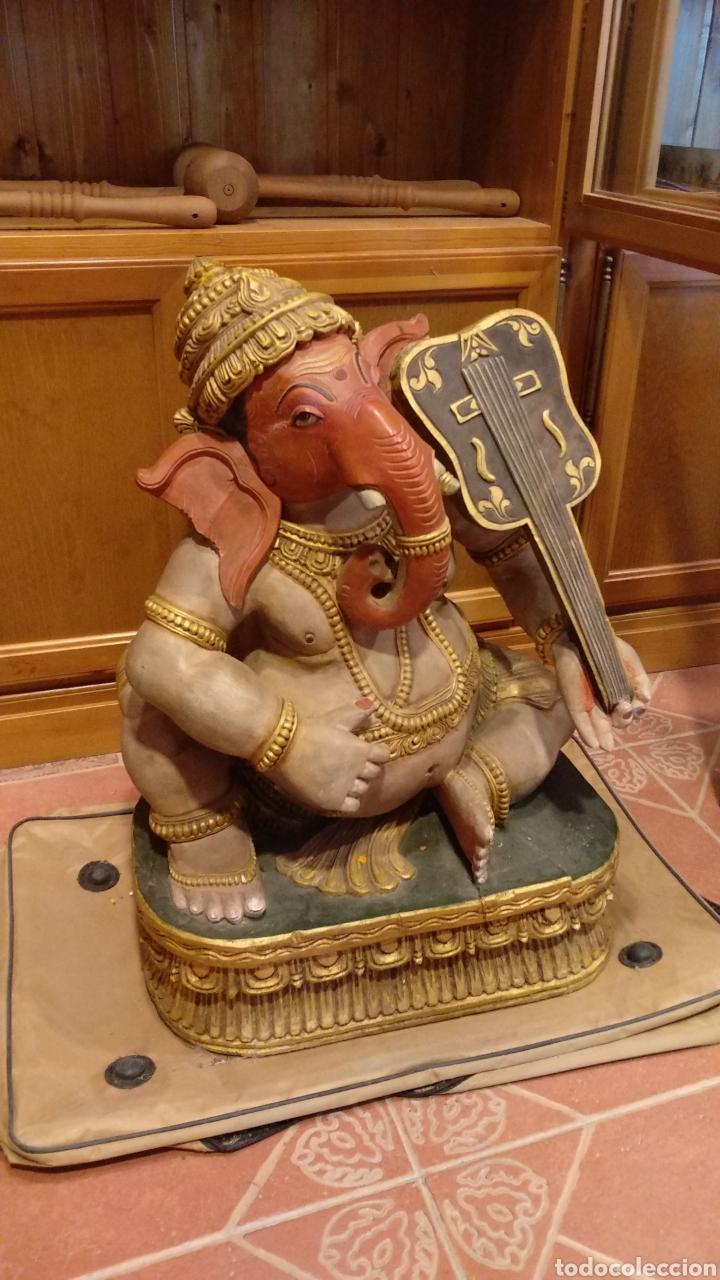 Arte: Ganesh madera maciza de sésamo - Foto 2 - 152785985