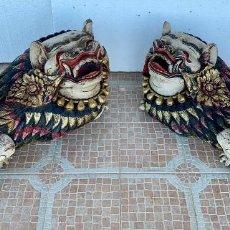 Arte: PAREJA DE ANTIGUOS DRAGONES TALLADOS EN MADERA Y POLICROMADOS. Lote 152845998