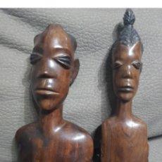 Arte: PAREJA DE ESCULTURAS AFRICANAS DE MADERA 20 CENTIMETROS DE ALTO. Lote 154412522