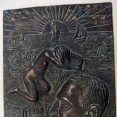 Arte: ANTIGUA PLACA DE BRONCE CONMEMORATIVA DE BLASCO IBAÑEZ 1867 1928. Lote 154661062
