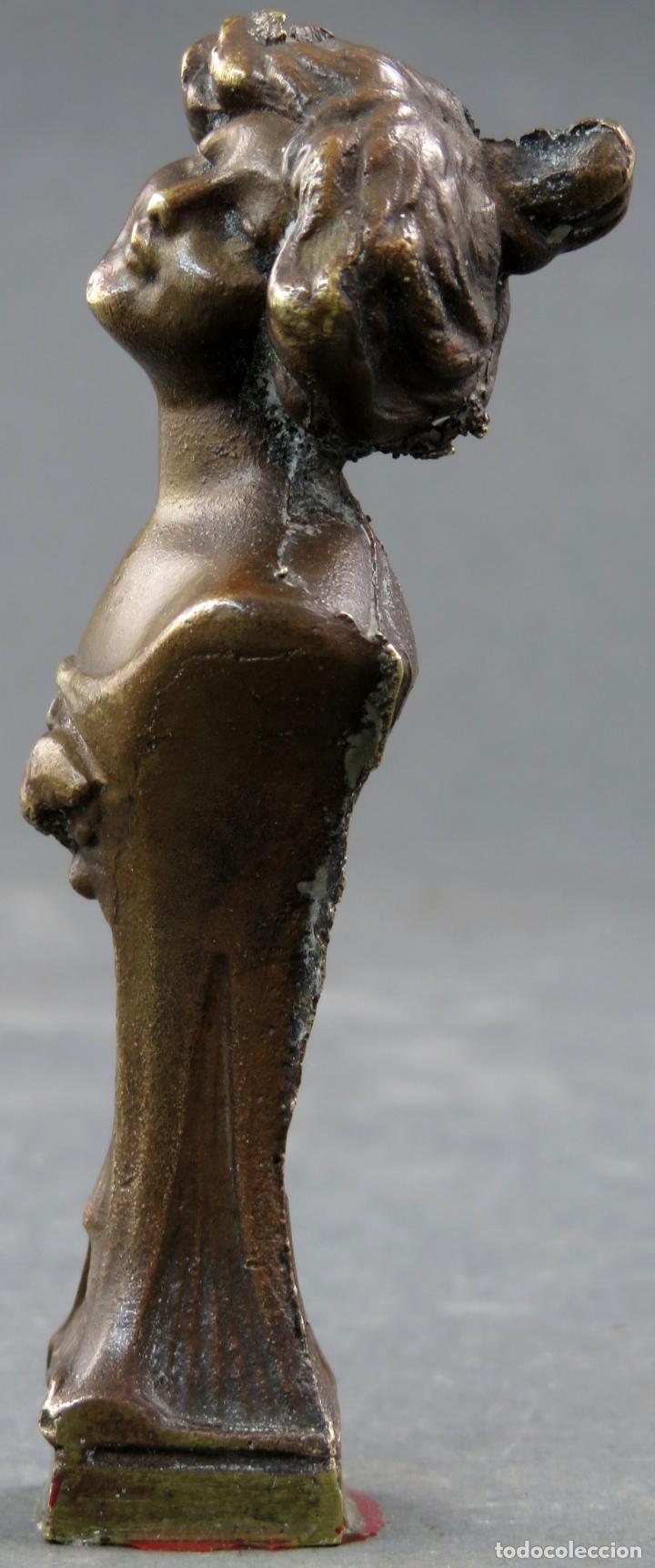 Arte: Sello en bronce Art Nouveau modernista busto femenino hacia 1910 - Foto 2 - 154967190