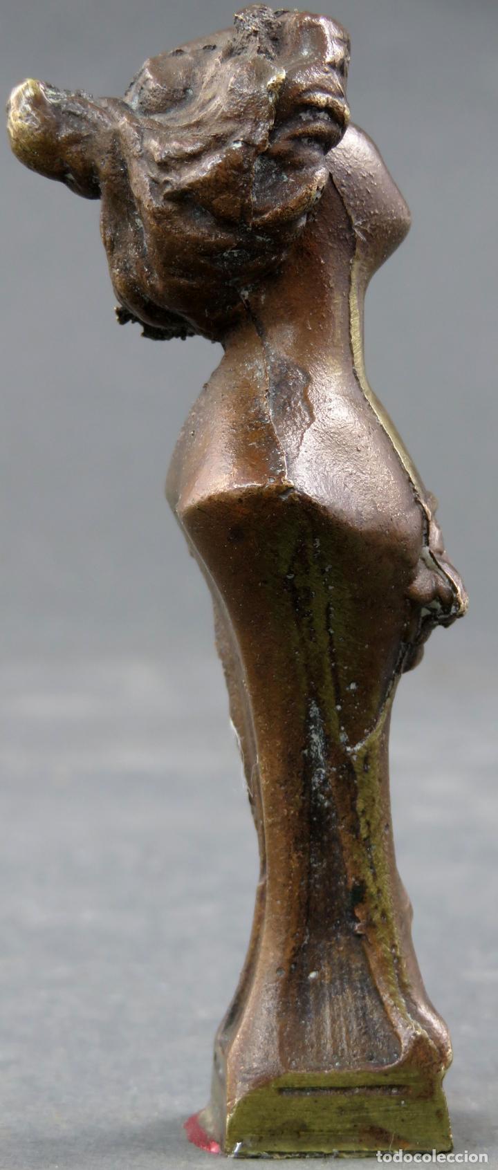 Arte: Sello en bronce Art Nouveau modernista busto femenino hacia 1910 - Foto 4 - 154967190
