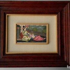 Arte: PINTURA MINIATURA INDIA, SOBRE PLACA DE MARFIL, MARCO DE MADERA. Lote 155114122