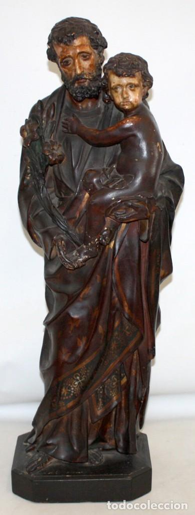 SAN JOSE Y EL NIÑO JESUS EN ESTUCO POLICROMADO DE FINALES DEL SIGLO XIX. 85 CM. DE ALTURA (Arte - Escultura - Terracota )
