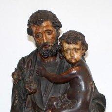 Arte: SAN JOSE Y EL NIÑO JESUS EN ESTUCO POLICROMADO DE FINALES DEL SIGLO XIX. 85 CM. DE ALTURA. Lote 155176958
