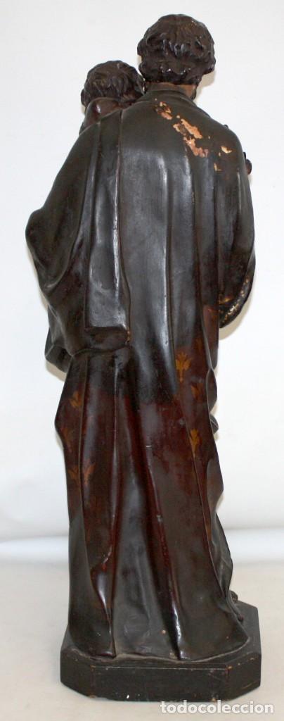 Arte: SAN JOSE Y EL NIÑO JESUS EN ESTUCO POLICROMADO DE FINALES DEL SIGLO XIX. 85 CM. DE ALTURA - Foto 2 - 155176958