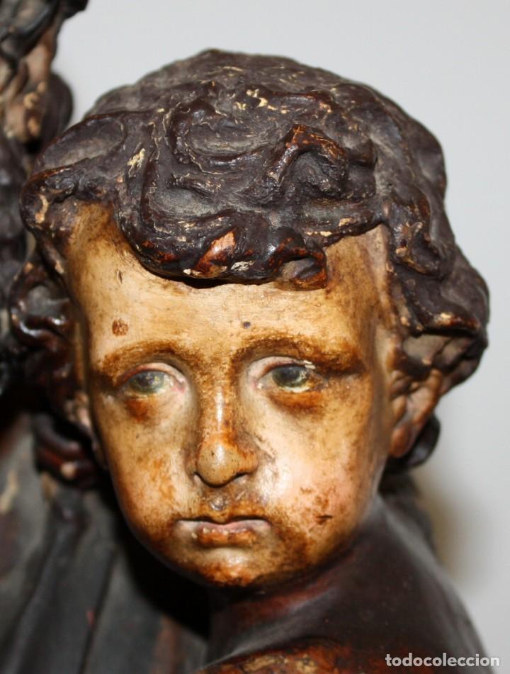 Arte: SAN JOSE Y EL NIÑO JESUS EN ESTUCO POLICROMADO DE FINALES DEL SIGLO XIX. 85 CM. DE ALTURA - Foto 4 - 155176958