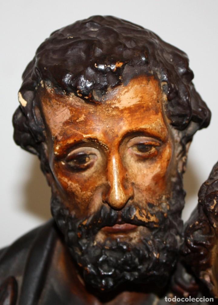 Arte: SAN JOSE Y EL NIÑO JESUS EN ESTUCO POLICROMADO DE FINALES DEL SIGLO XIX. 85 CM. DE ALTURA - Foto 6 - 155176958