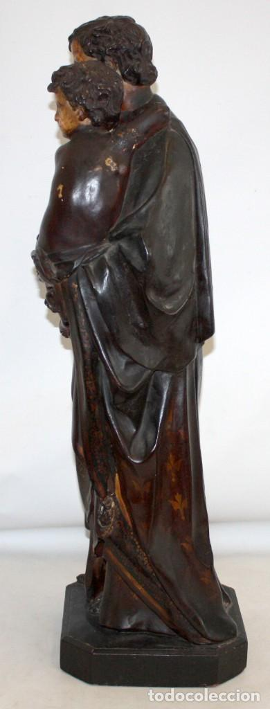 Arte: SAN JOSE Y EL NIÑO JESUS EN ESTUCO POLICROMADO DE FINALES DEL SIGLO XIX. 85 CM. DE ALTURA - Foto 7 - 155176958