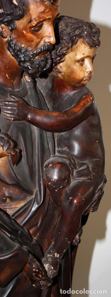 Arte: SAN JOSE Y EL NIÑO JESUS EN ESTUCO POLICROMADO DE FINALES DEL SIGLO XIX. 85 CM. DE ALTURA - Foto 8 - 155176958