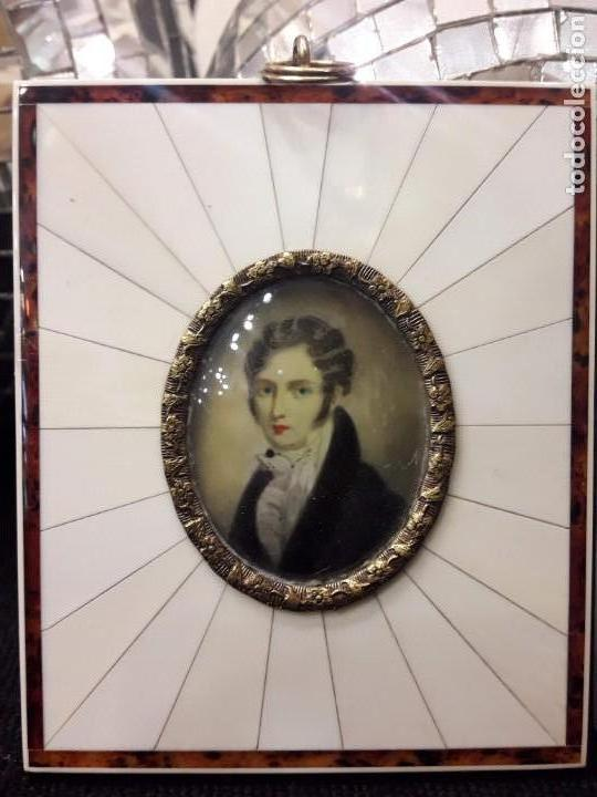 Arte: Dos magnifico retratos - óleo sobre marfil y marco de marfil Francia - estilo Napoleón III, S.XIX - Foto 4 - 156105926