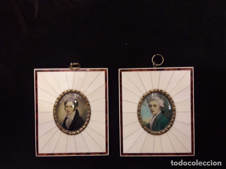 Arte: Dos magnifico retratos - óleo sobre marfil y marco de marfil Francia - estilo Napoleón III, S.XIX - Foto 2 - 156105926