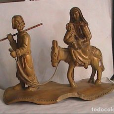 Arte: EXCELENTE TALLA EN MADERA DE OLIVO. SAGRADA FAMILIA. LA HUIDA A EGIPTO.. Lote 156621930