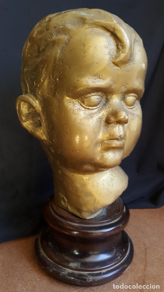 ESCULTURA CABEZA, BUSTO DE NIÑO EN BRONCE MACIZO, 20 KLS. (Arte - Escultura - Bronce)