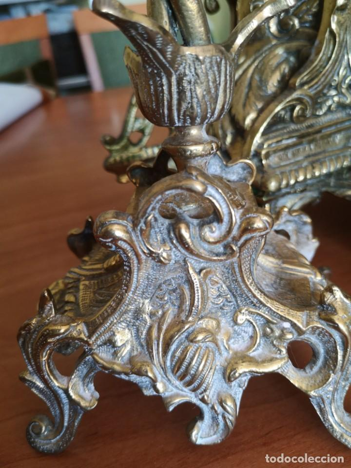 Arte: Reloj y candelabro de bronce - Foto 4 - 157829318