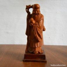 Arte: SHOU XING SABIO CHINO ANCIANO ORIENTAL TALLA EN MADERA DIOS DE LA LONGEVIDAD EN LA RELIGIÓN TAOISTA. Lote 158130942