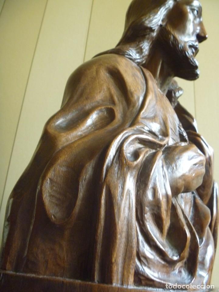 Arte: GRAN SAGRADO CORAZÓN JESUS TALLA AFAMADO ESCULTOR JOSE HERNÁNDEZ PIEZA MUSEO OPORTUNIDAD - Foto 2 - 158718326