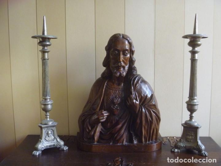 Arte: GRAN SAGRADO CORAZÓN JESUS TALLA AFAMADO ESCULTOR JOSE HERNÁNDEZ PIEZA MUSEO OPORTUNIDAD - Foto 12 - 158718326