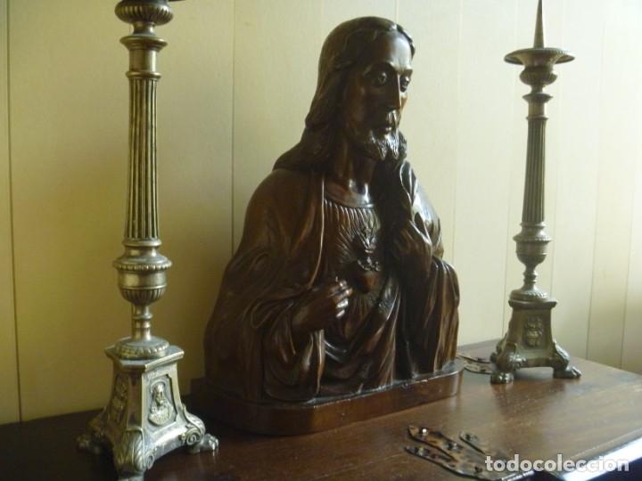 Arte: GRAN SAGRADO CORAZÓN JESUS TALLA AFAMADO ESCULTOR JOSE HERNÁNDEZ PIEZA MUSEO OPORTUNIDAD - Foto 13 - 158718326