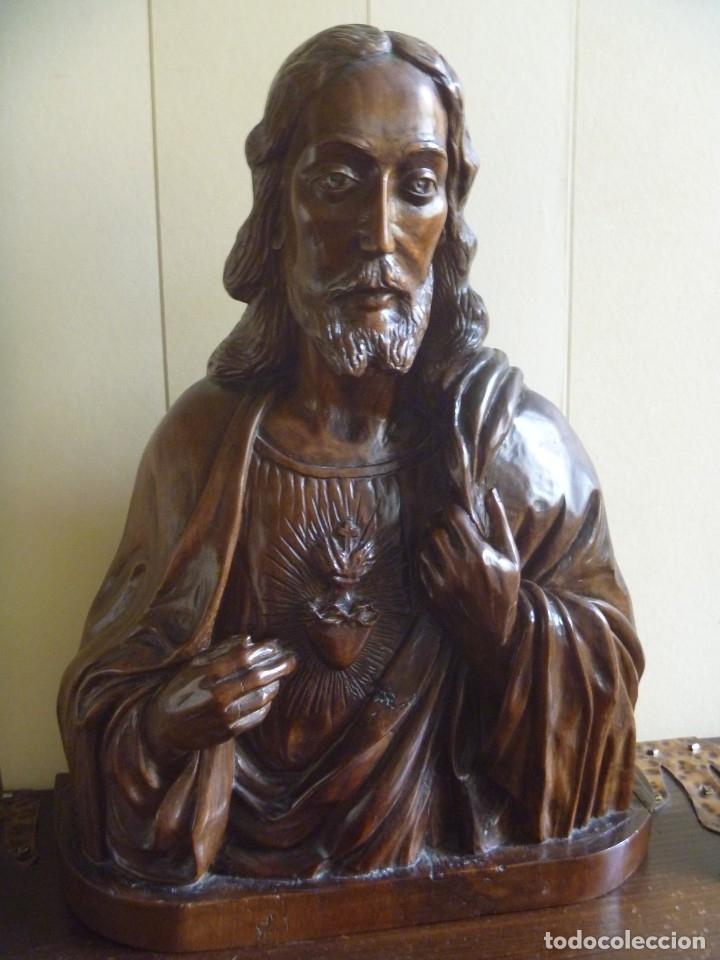 Arte: GRAN SAGRADO CORAZÓN JESUS TALLA AFAMADO ESCULTOR JOSE HERNÁNDEZ PIEZA MUSEO OPORTUNIDAD - Foto 14 - 158718326