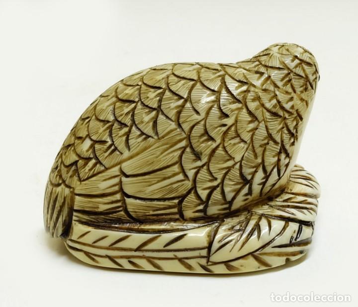 Arte: Exquisito Netsuke miniatura paloma marfil - FIRMADO - Foto 2 - 159939082