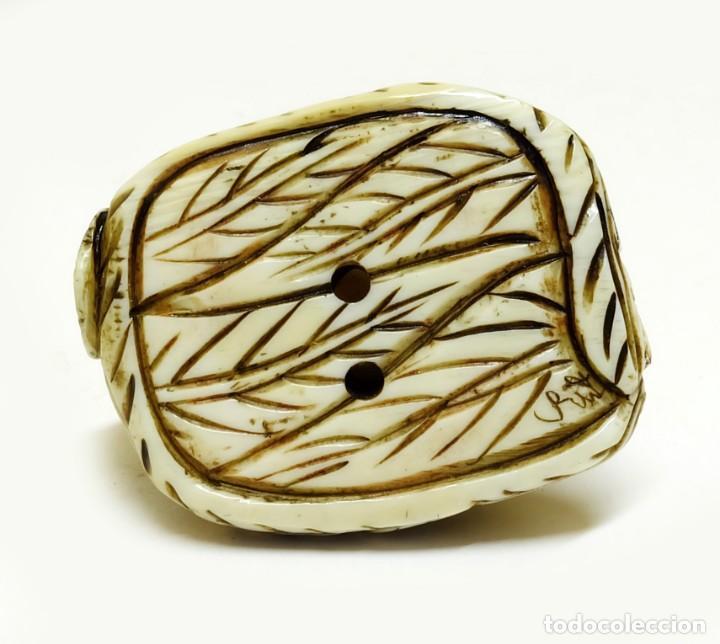 Arte: Exquisito Netsuke miniatura paloma marfil - FIRMADO - Foto 3 - 159939082