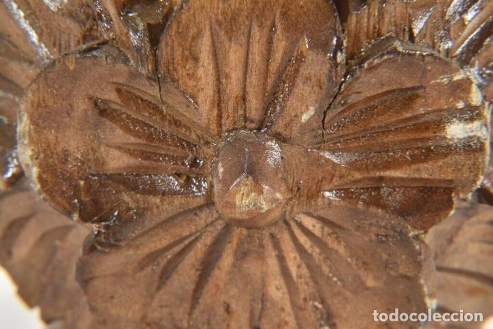 Arte: IMPRESIONANTES PAR ANTIGUOS JARRONES MADERA TALLADA SIGLO XIX 32 CM PERFECTOS a mano piezas museo - Foto 3 - 160183822