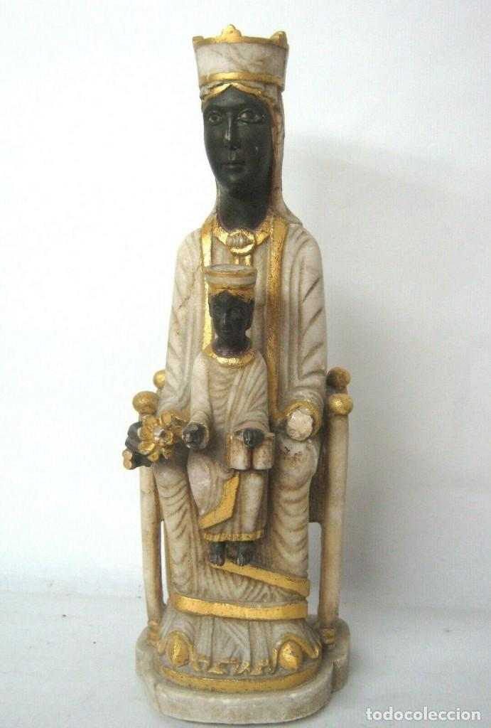 39 CM ANTIGUA TALLA EN ALABASTRO ESCULTURA ESCUELA CATALANA ARAGONESA VIRGEN NEGRA CON NIÑO JESUS (Arte - Escultura - Alabastro)