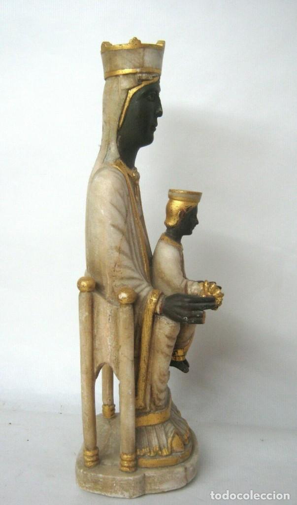 Arte: 39 cm ANTIGUA TALLA EN ALABASTRO ESCULTURA ESCUELA CATALANA ARAGONESA Virgen Negra con Niño Jesus - Foto 2 - 160871978