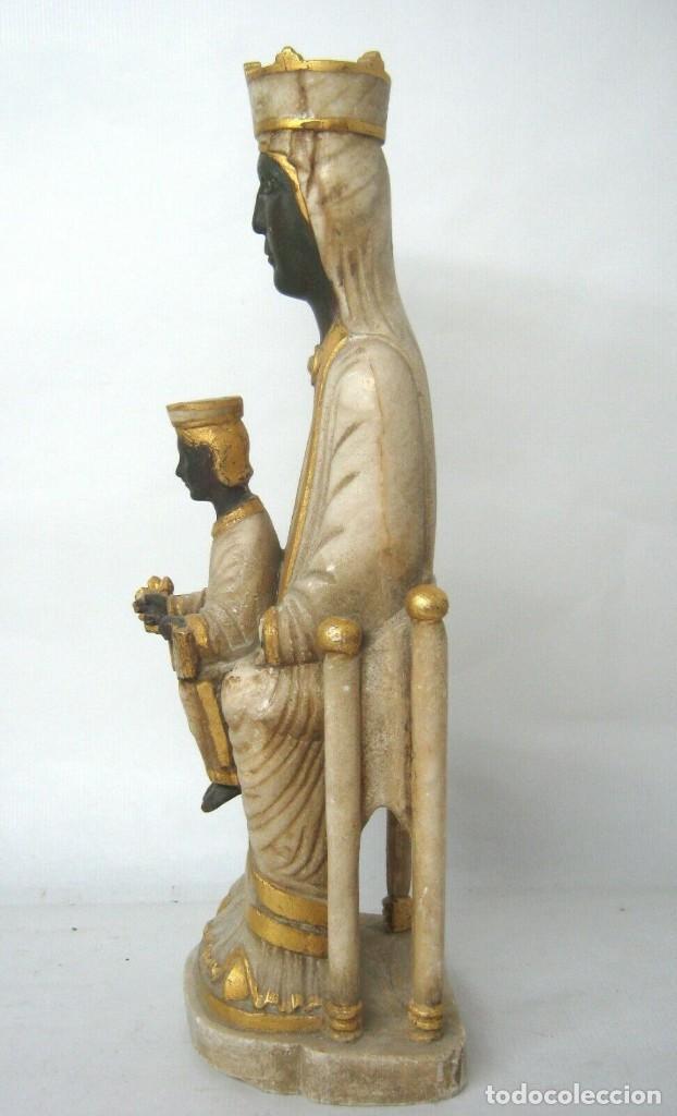 Arte: 39 cm ANTIGUA TALLA EN ALABASTRO ESCULTURA ESCUELA CATALANA ARAGONESA Virgen Negra con Niño Jesus - Foto 3 - 160871978