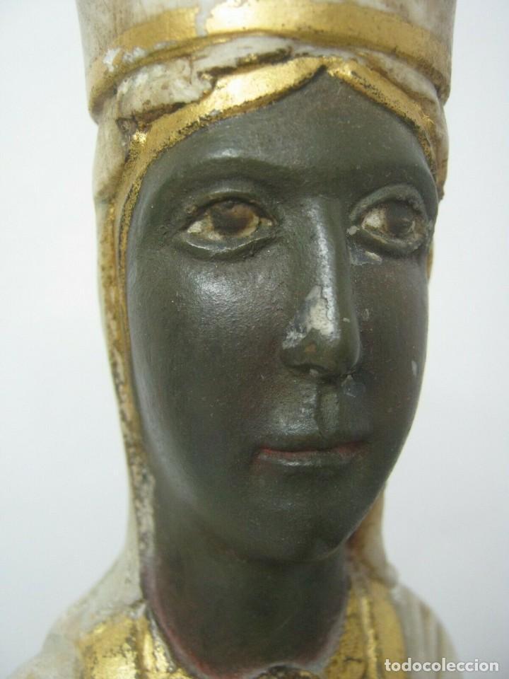 Arte: 39 cm ANTIGUA TALLA EN ALABASTRO ESCULTURA ESCUELA CATALANA ARAGONESA Virgen Negra con Niño Jesus - Foto 4 - 160871978