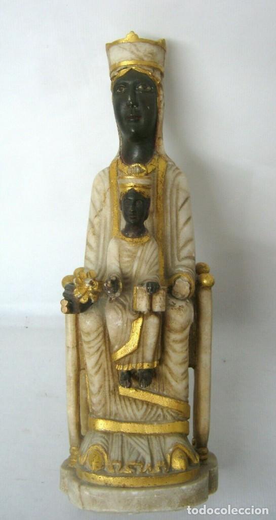Arte: 39 cm ANTIGUA TALLA EN ALABASTRO ESCULTURA ESCUELA CATALANA ARAGONESA Virgen Negra con Niño Jesus - Foto 5 - 160871978