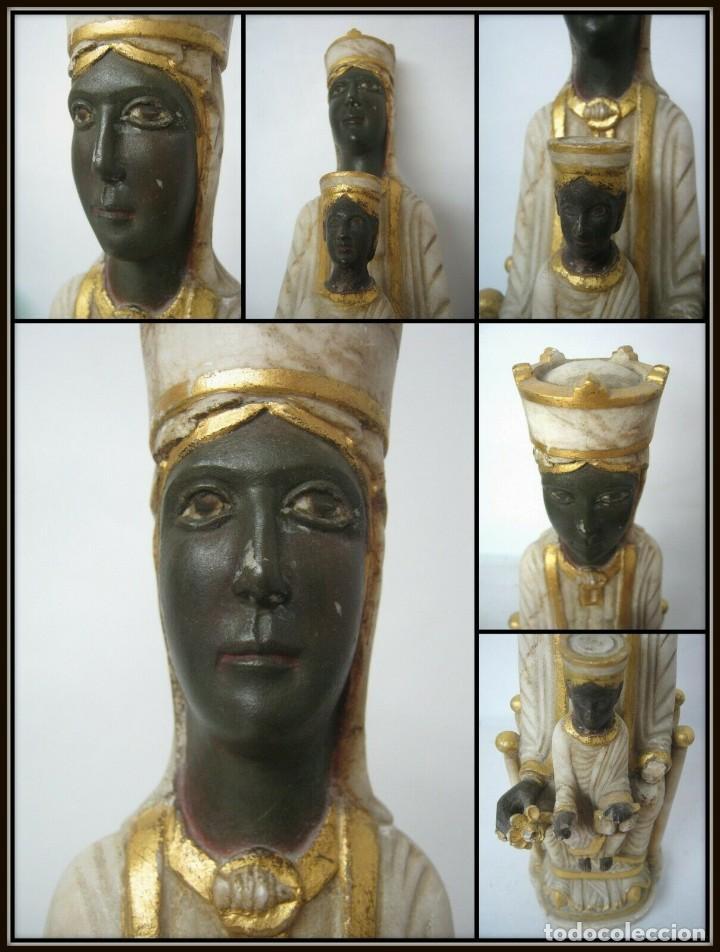 Arte: 39 cm ANTIGUA TALLA EN ALABASTRO ESCULTURA ESCUELA CATALANA ARAGONESA Virgen Negra con Niño Jesus - Foto 6 - 160871978