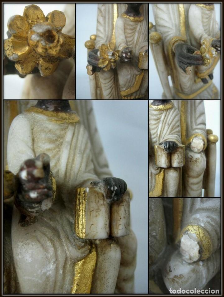 Arte: 39 cm ANTIGUA TALLA EN ALABASTRO ESCULTURA ESCUELA CATALANA ARAGONESA Virgen Negra con Niño Jesus - Foto 7 - 160871978