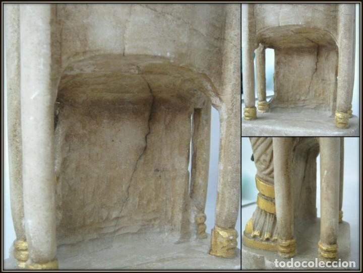 Arte: 39 cm ANTIGUA TALLA EN ALABASTRO ESCULTURA ESCUELA CATALANA ARAGONESA Virgen Negra con Niño Jesus - Foto 9 - 160871978