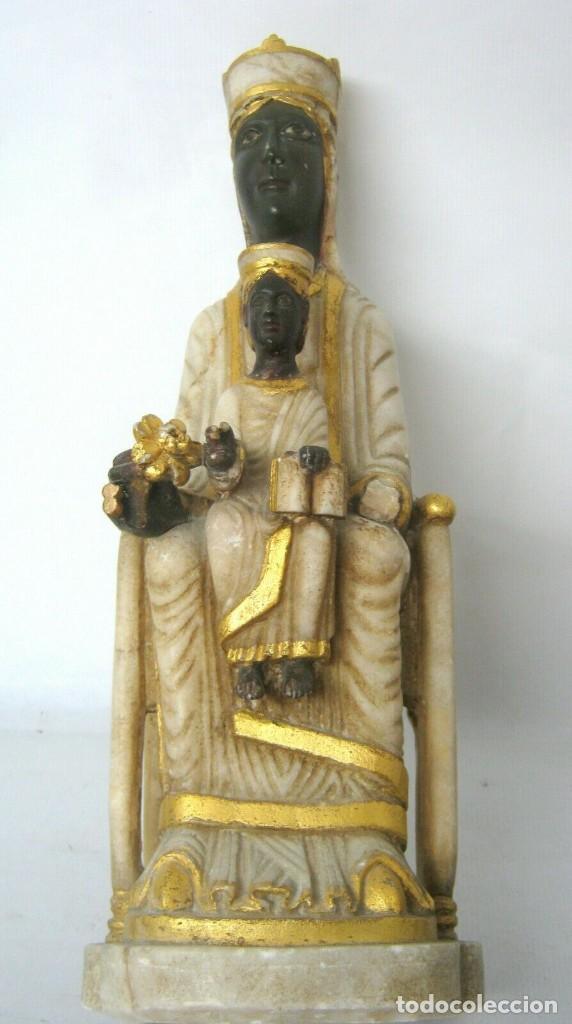 Arte: 39 cm ANTIGUA TALLA EN ALABASTRO ESCULTURA ESCUELA CATALANA ARAGONESA Virgen Negra con Niño Jesus - Foto 10 - 160871978