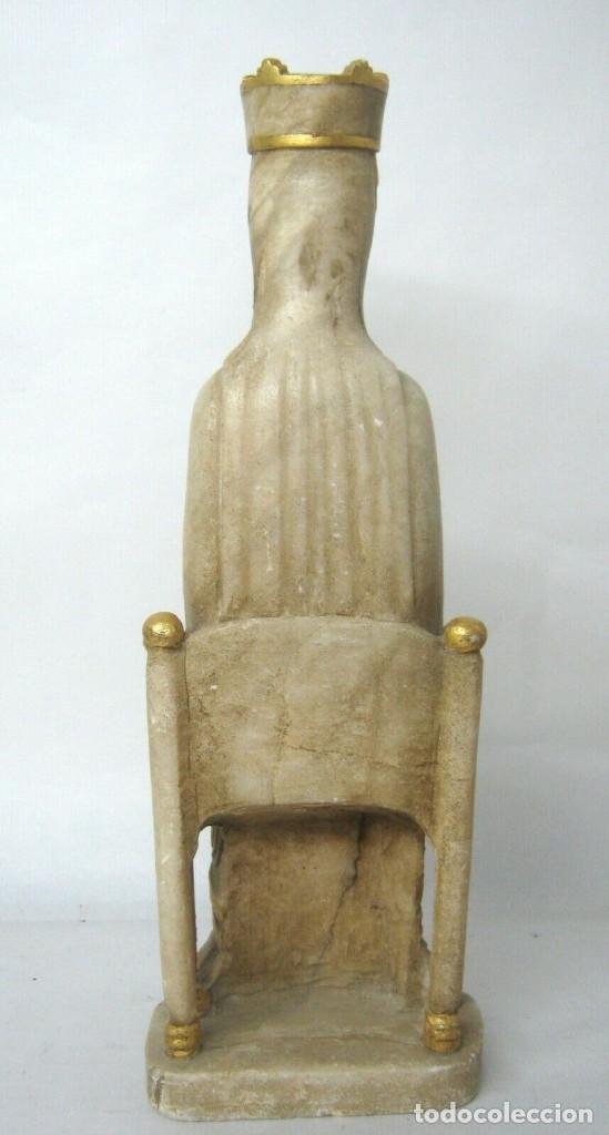 Arte: 39 cm ANTIGUA TALLA EN ALABASTRO ESCULTURA ESCUELA CATALANA ARAGONESA Virgen Negra con Niño Jesus - Foto 11 - 160871978