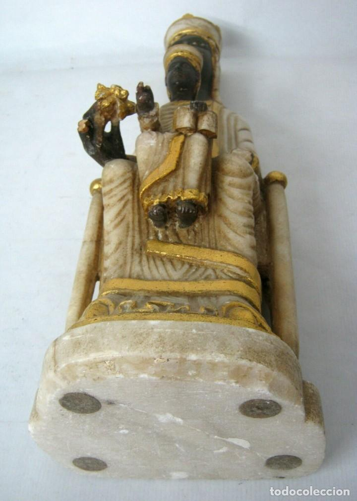 Arte: 39 cm ANTIGUA TALLA EN ALABASTRO ESCULTURA ESCUELA CATALANA ARAGONESA Virgen Negra con Niño Jesus - Foto 12 - 160871978