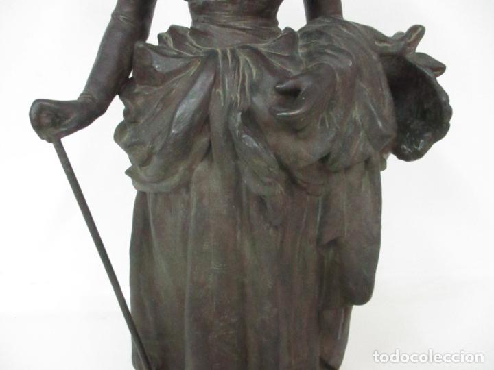 Arte: Preciosa Escultura de Dama - Bronce Patinado - Firma George Van Der Straeten (Bélgica 1856-1928) - Foto 5 - 160929338