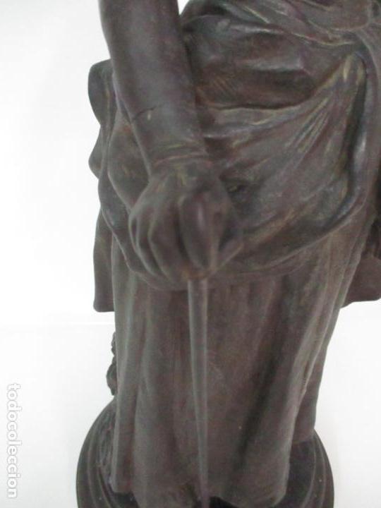 Arte: Preciosa Escultura de Dama - Bronce Patinado - Firma George Van Der Straeten (Bélgica 1856-1928) - Foto 6 - 160929338