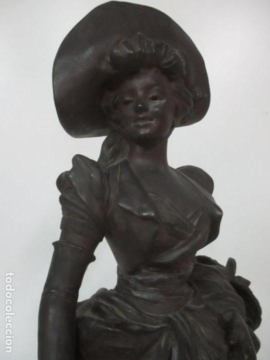 Arte: Preciosa Escultura de Dama - Bronce Patinado - Firma George Van Der Straeten (Bélgica 1856-1928) - Foto 7 - 160929338