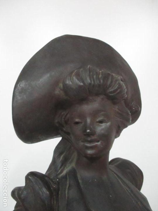 Arte: Preciosa Escultura de Dama - Bronce Patinado - Firma George Van Der Straeten (Bélgica 1856-1928) - Foto 8 - 160929338
