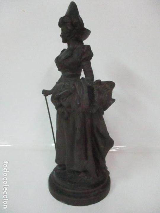 Arte: Preciosa Escultura de Dama - Bronce Patinado - Firma George Van Der Straeten (Bélgica 1856-1928) - Foto 10 - 160929338