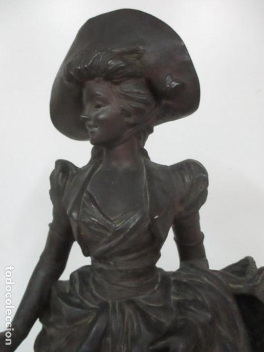 Arte: Preciosa Escultura de Dama - Bronce Patinado - Firma George Van Der Straeten (Bélgica 1856-1928) - Foto 11 - 160929338