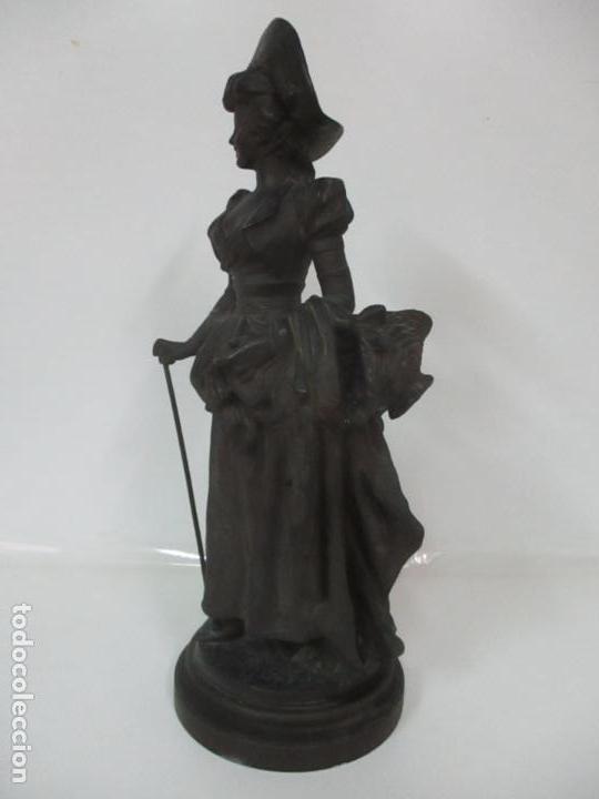 Arte: Preciosa Escultura de Dama - Bronce Patinado - Firma George Van Der Straeten (Bélgica 1856-1928) - Foto 12 - 160929338