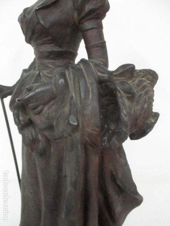 Arte: Preciosa Escultura de Dama - Bronce Patinado - Firma George Van Der Straeten (Bélgica 1856-1928) - Foto 14 - 160929338