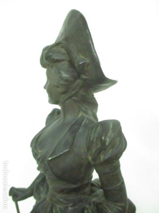 Arte: Preciosa Escultura de Dama - Bronce Patinado - Firma George Van Der Straeten (Bélgica 1856-1928) - Foto 18 - 160929338