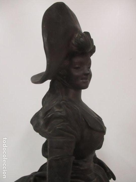 Arte: Preciosa Escultura de Dama - Bronce Patinado - Firma George Van Der Straeten (Bélgica 1856-1928) - Foto 29 - 160929338
