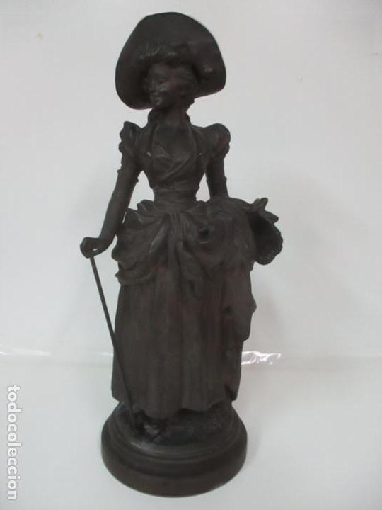Arte: Preciosa Escultura de Dama - Bronce Patinado - Firma George Van Der Straeten (Bélgica 1856-1928) - Foto 30 - 160929338